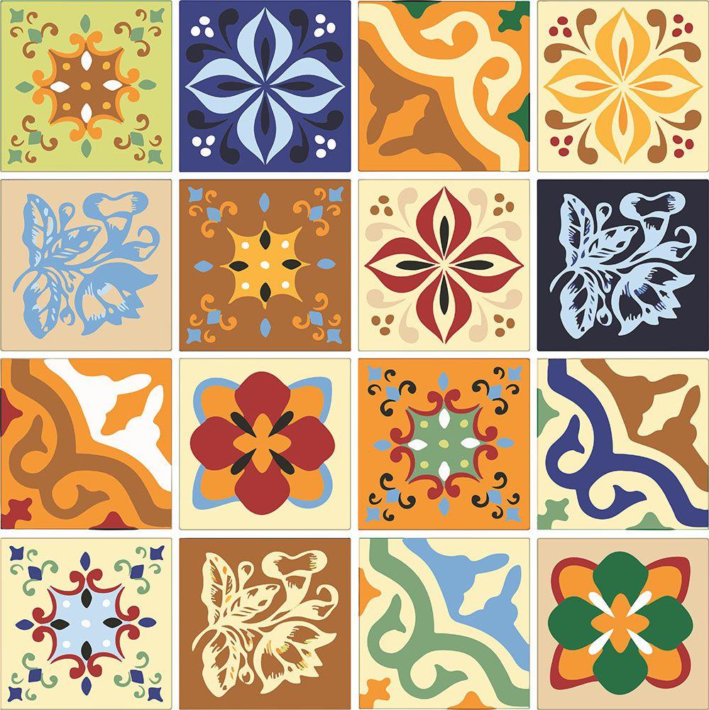 Adesivo de Azulejo Flores Coloridas