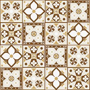 Adesivo de Azulejo Português Flores Marrons