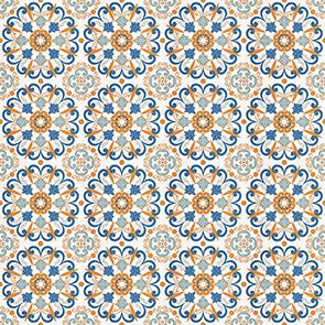 Adesivo de Azulejo Laranja e Azul