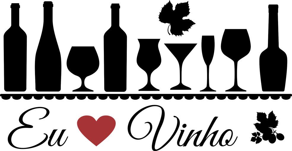 Adesivo de Parede Frase Eu Amo Vinho
