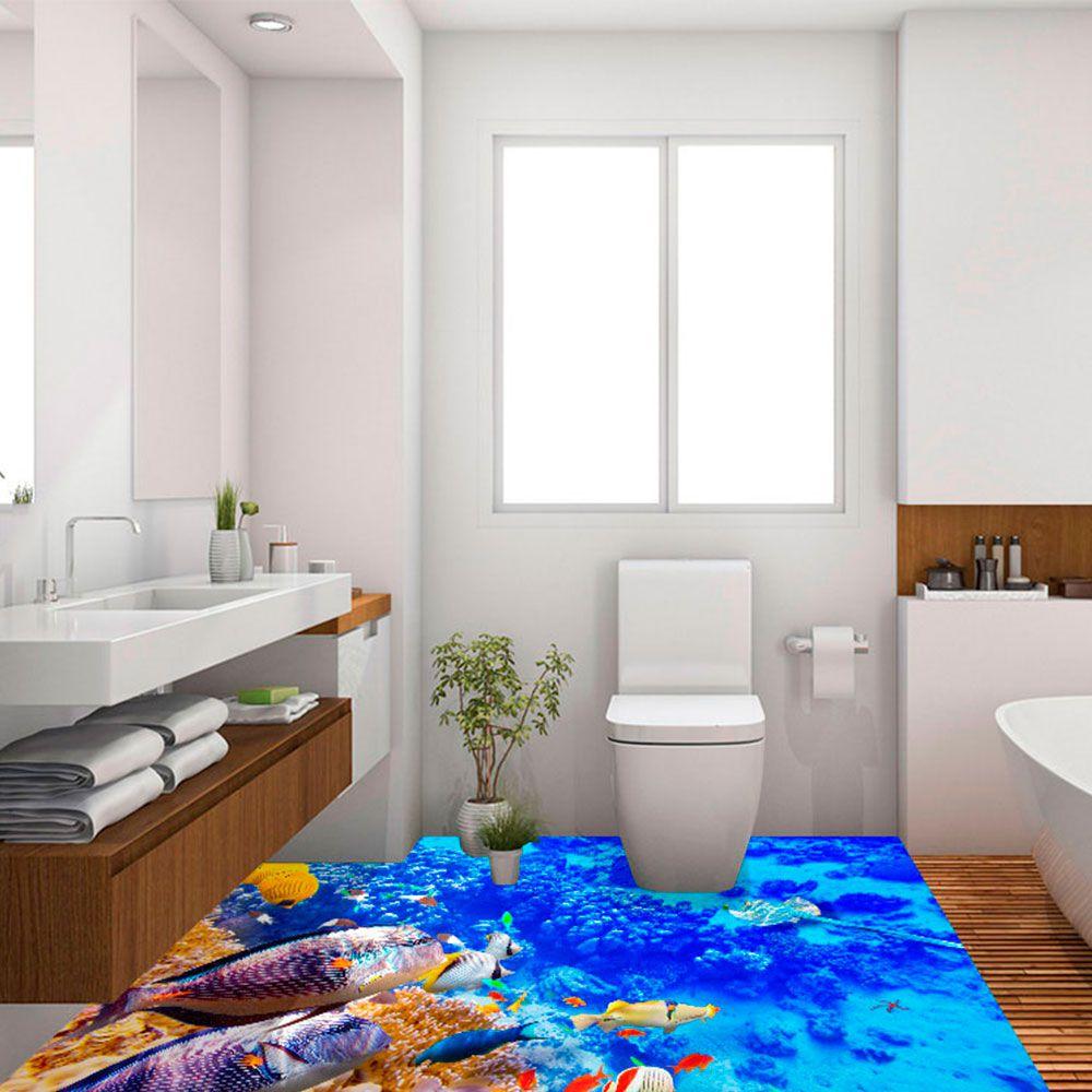 Adesivo de Piso 3D Porcelanato Liquido Mar com Peixes Coloridos
