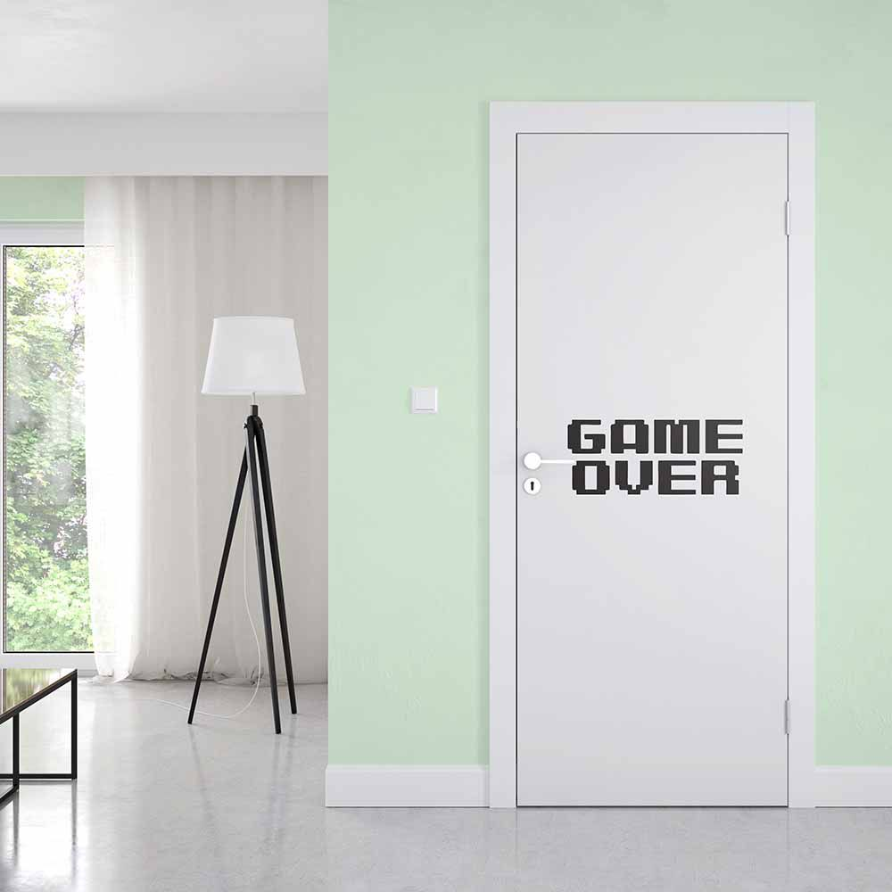 Adesivo de Porta Game Over Fundo Branco