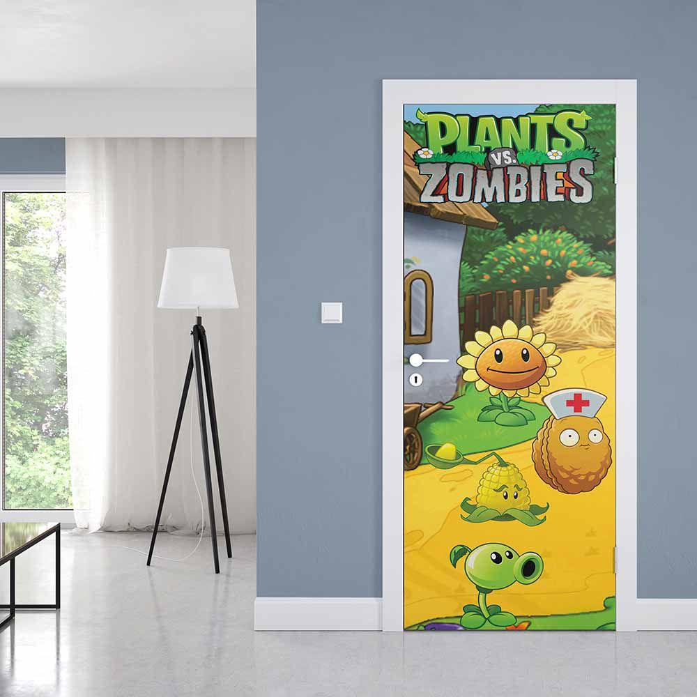 Adesivo de Porta Zumbi vs Plants