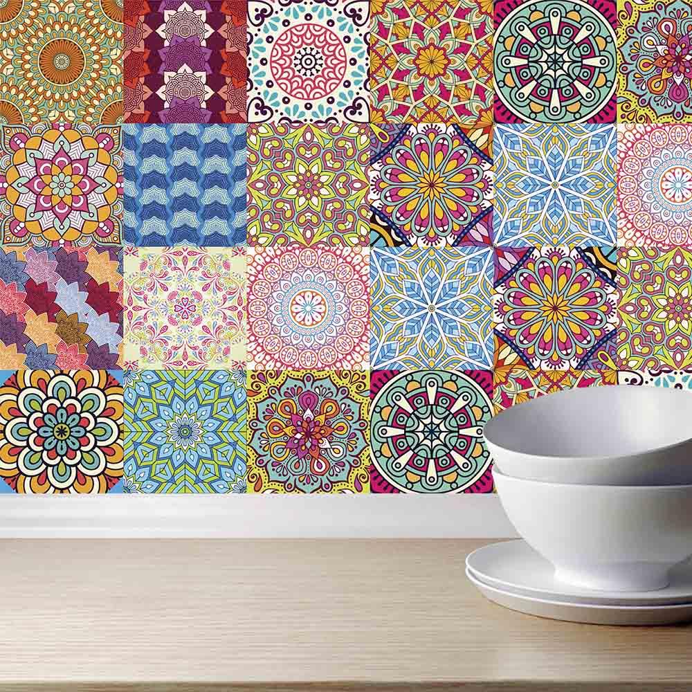 Adesivo de Azulejo Boho Mandalas Coloridas
