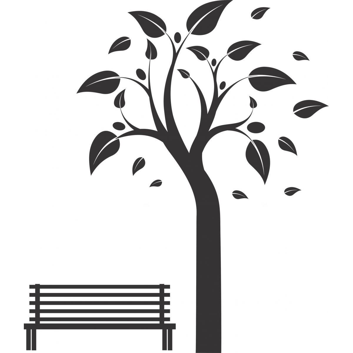 Adesivo de Parede Árvore e Banco Madeira
