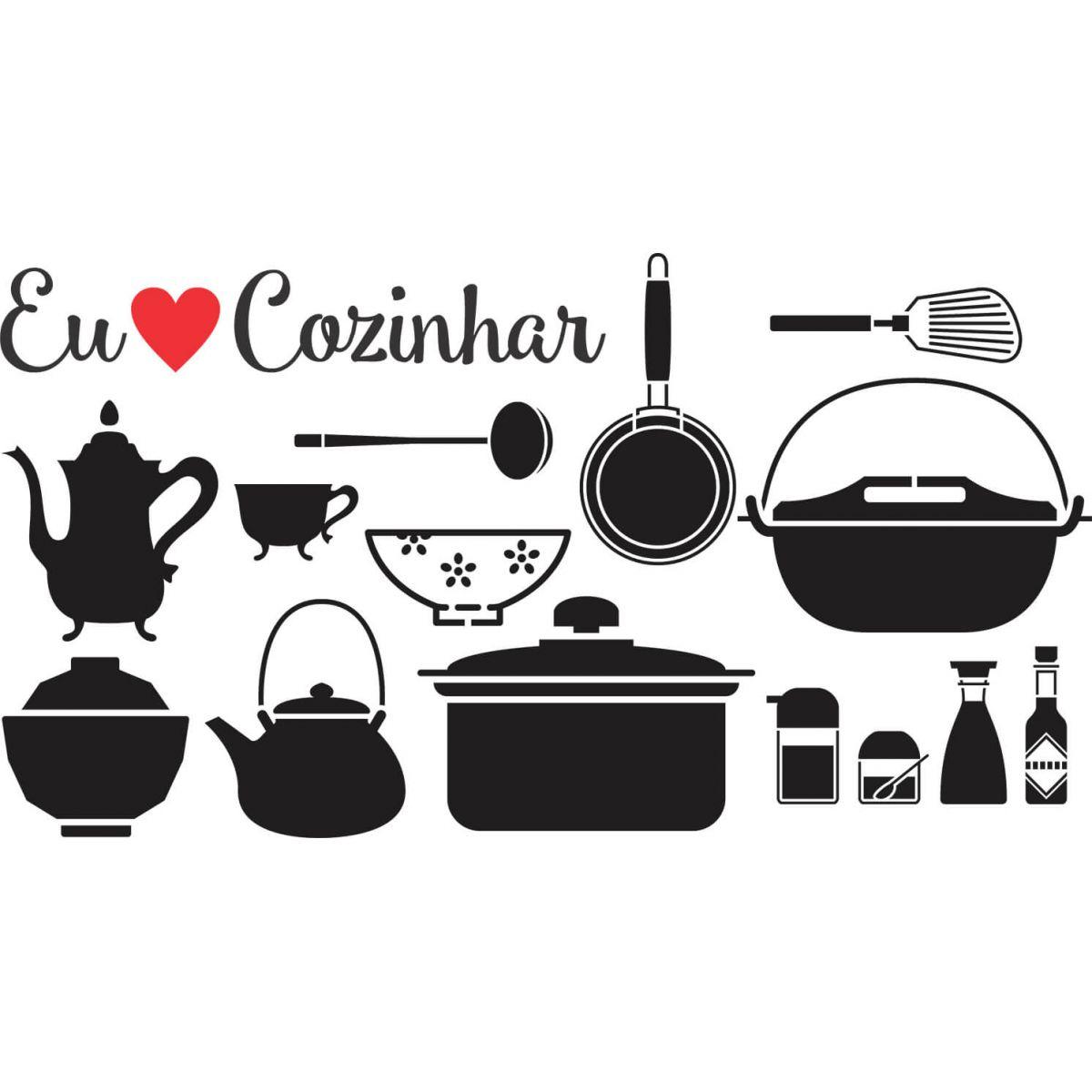 Armário Bartira Nas Casas Bahia ~ Adesivo Decorativo de Parede Eu Amo Cozinhar