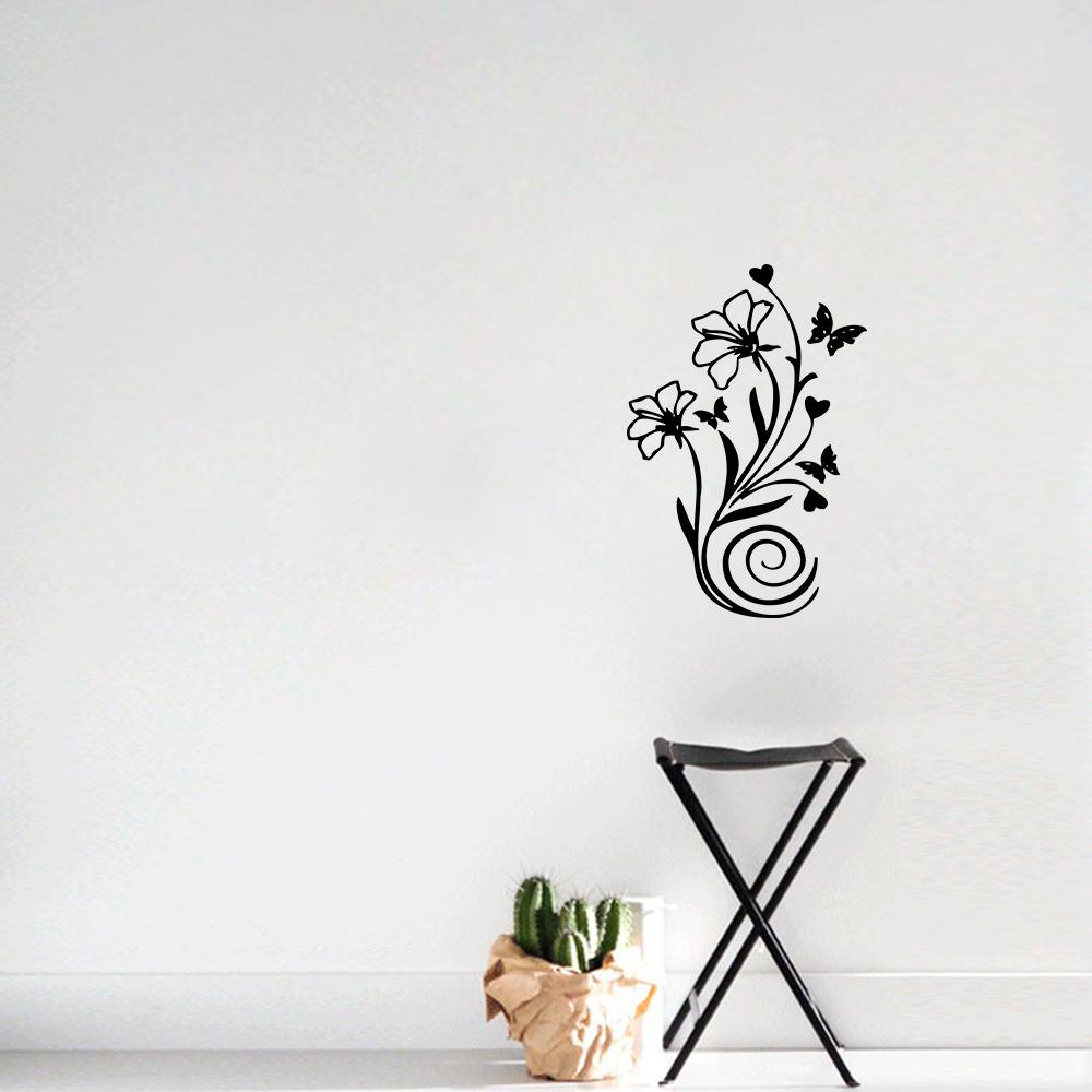 Aparador Verde Envejecido ~ Adesivo Decorativo de Parede Florais Floral Borboletas 1 SHOP ADESIVOS