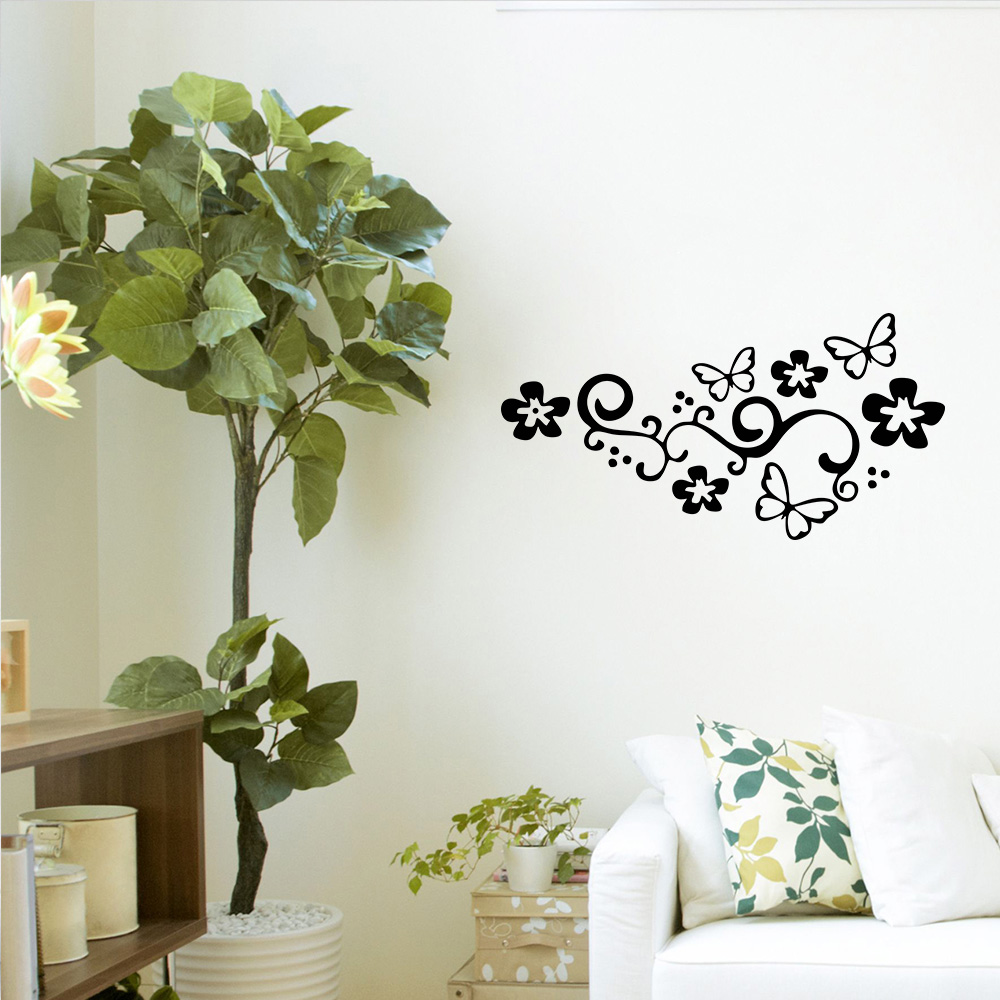 Aparador Verde Envejecido ~ Adesivo Decorativo de Parede Florais Floral Borboletas 2 SHOP ADESIVOS