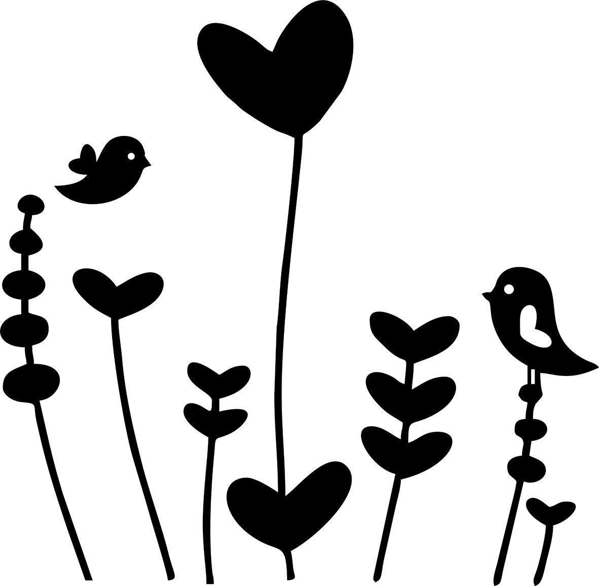 Adesivo de Parede Flores Pássaros