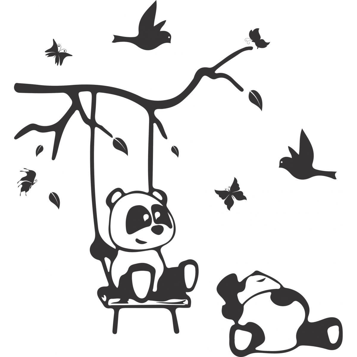 Adesivo de Parede Infantil Panda no Balanço