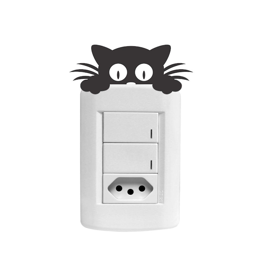 Artesanato De Jornal ~ Adesivo Decorativo de Parede Interruptor Gato Curioso SHOP ADESIVOS