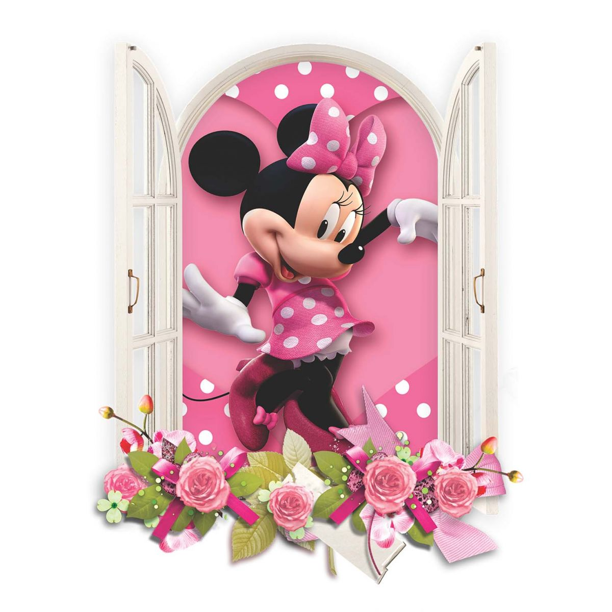 Adesivo de parede janela minnie rosa - Image de minnie ...
