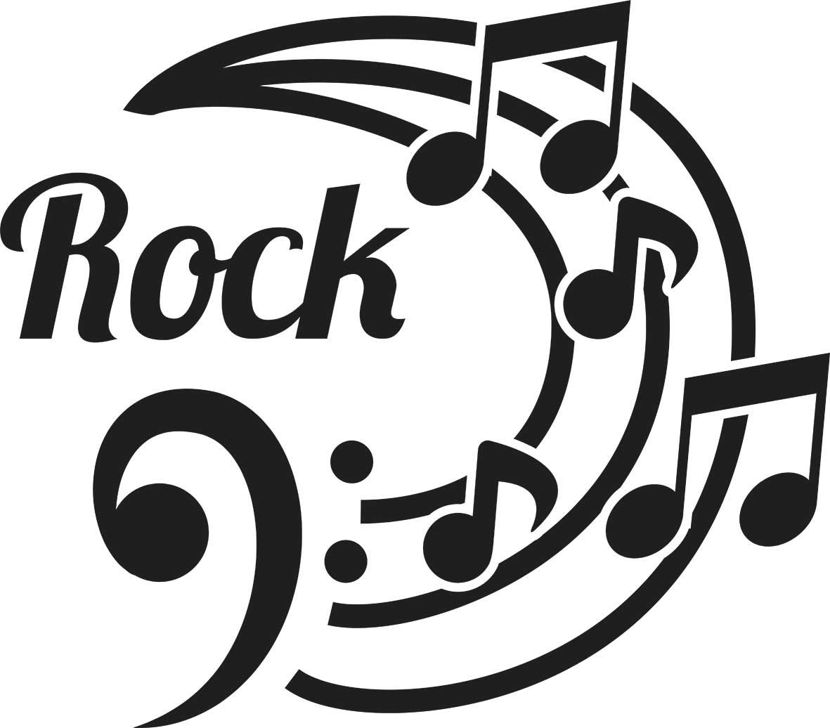 Adesivo de Parede Rock e Notas Musicais