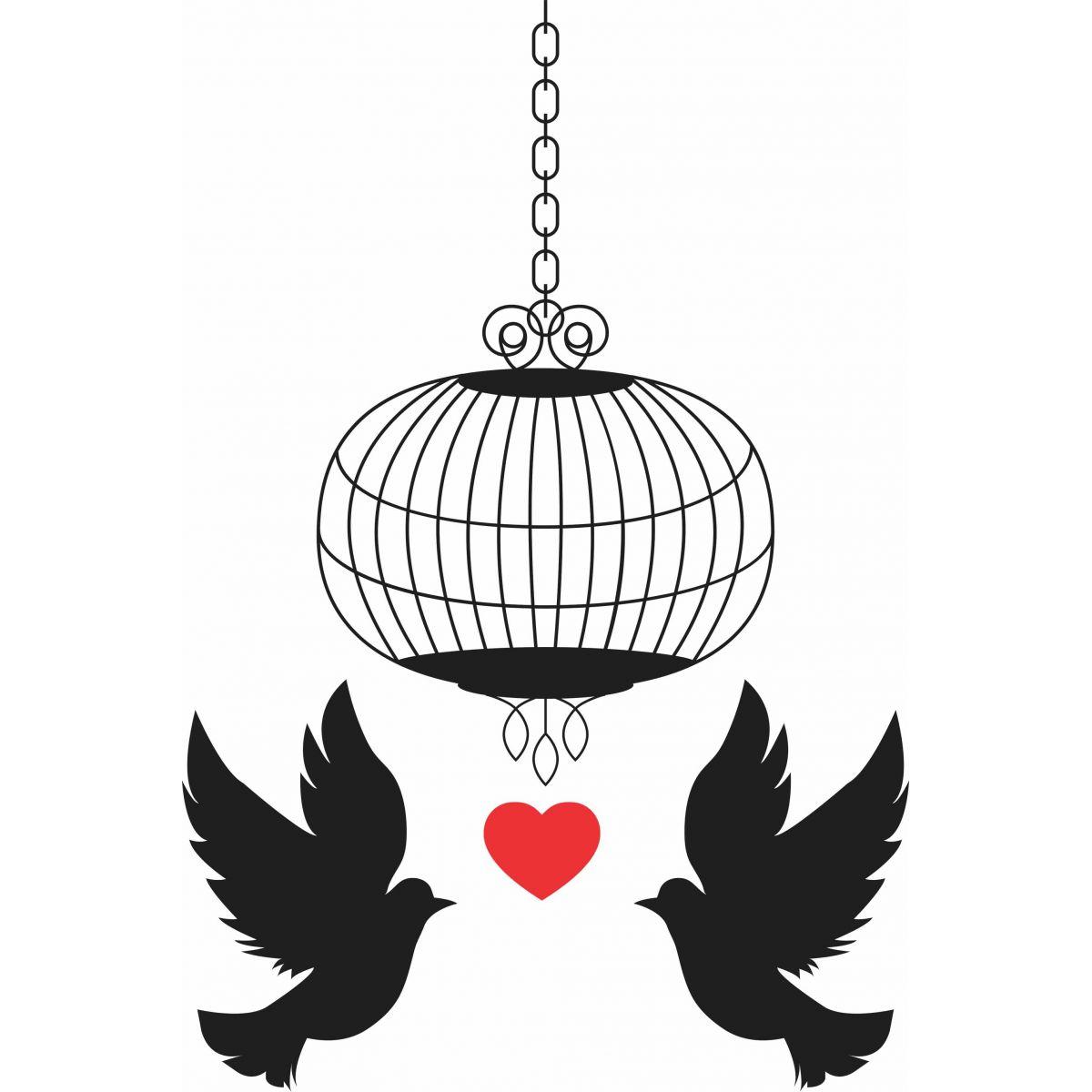 Adesivo de Parede Pássaros Apaixonados