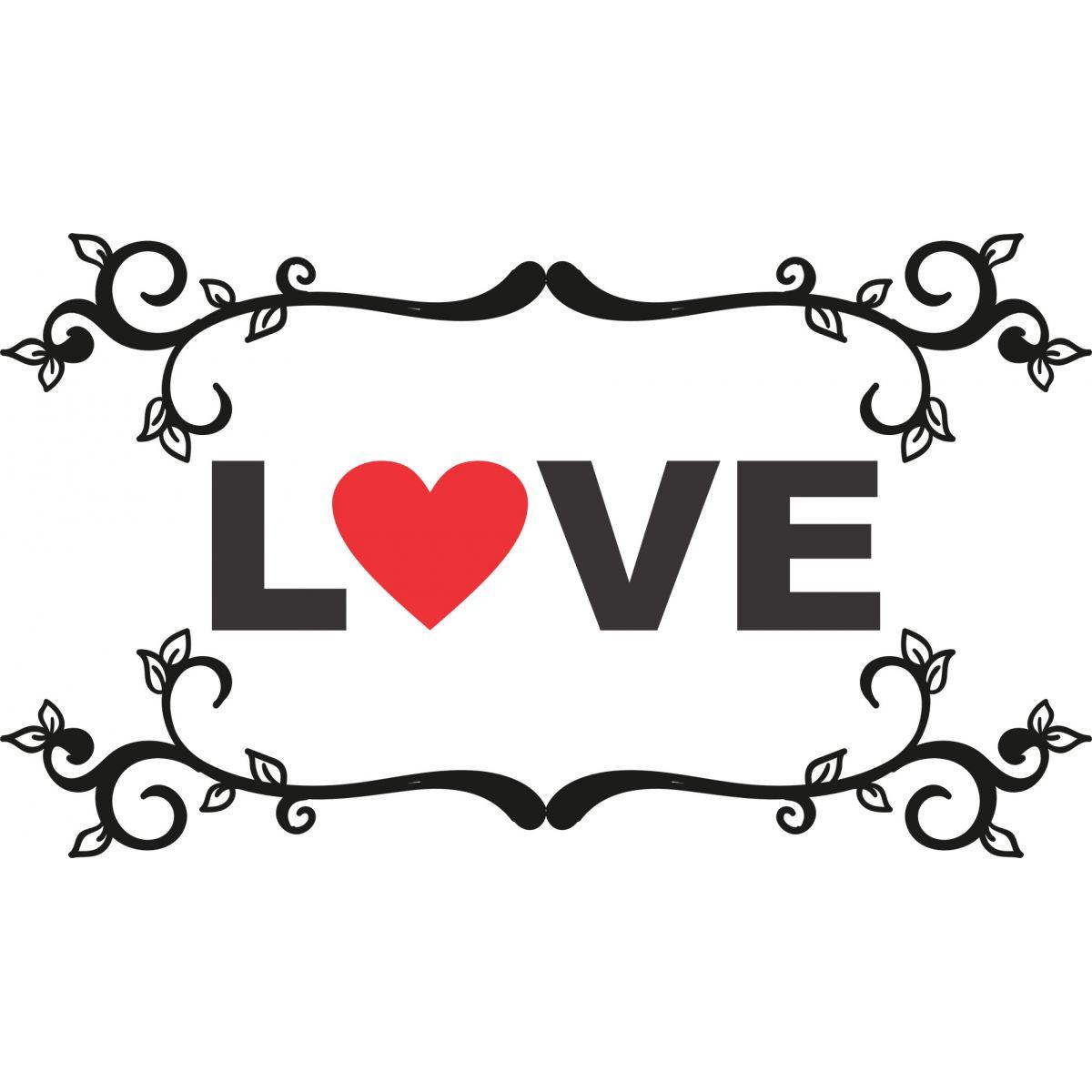 Adesivo de Parede Love com Arabescos