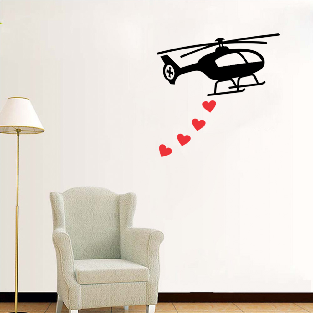 Adesivo de Parede Helicóptero com Corações