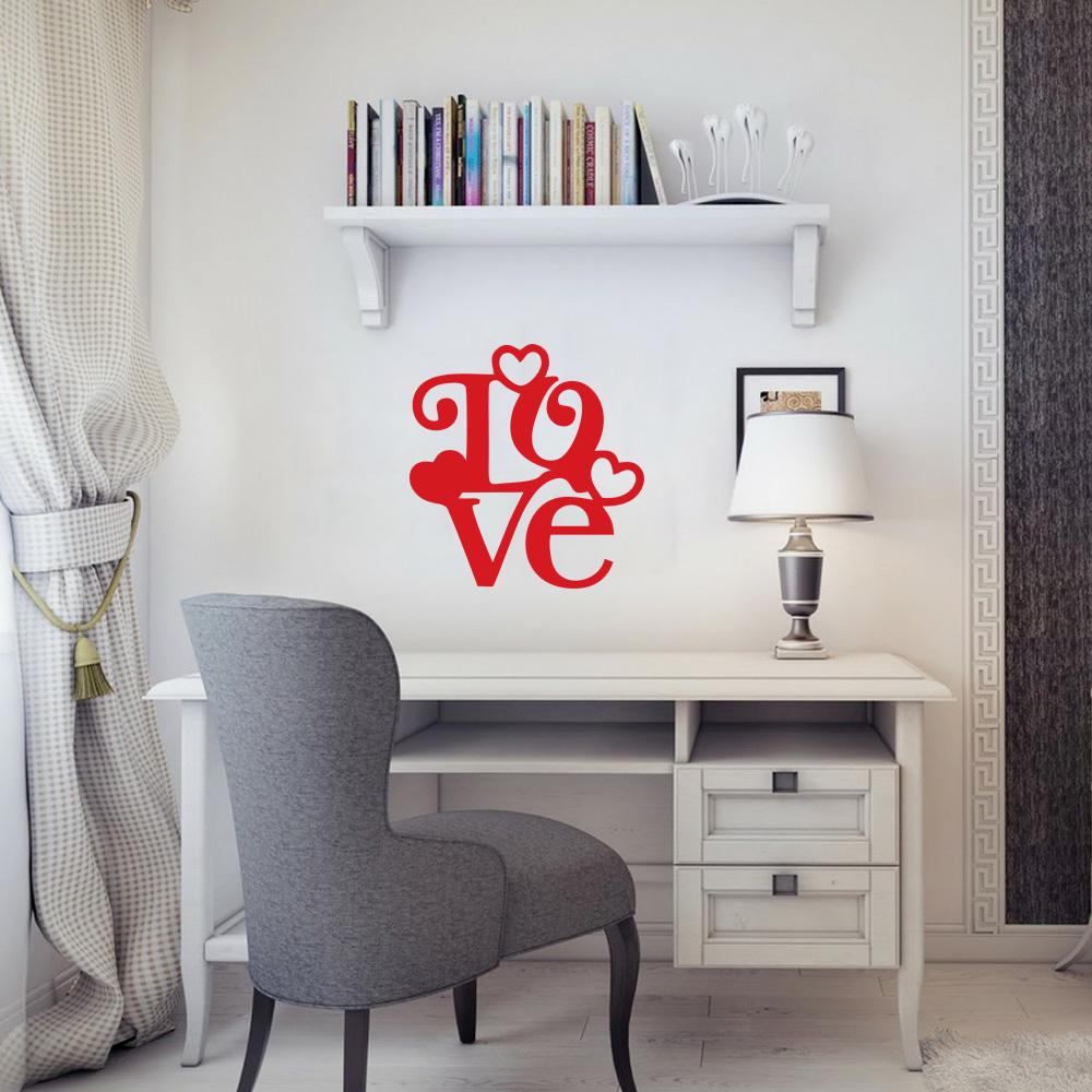 Adesivo de Parede Escrito Love Vermelho