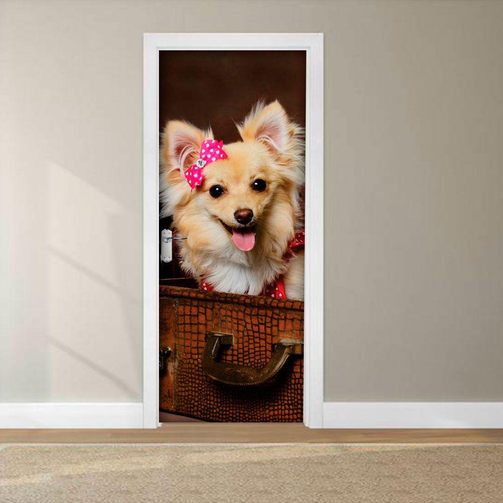 Adesivo para Porta Cachorro com Lacinho Pink