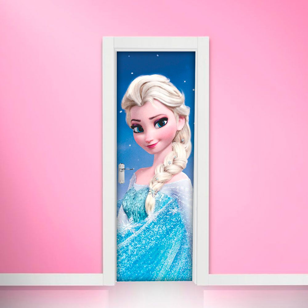 Adesivo de Porta Elsa Frozen Vestido Azul