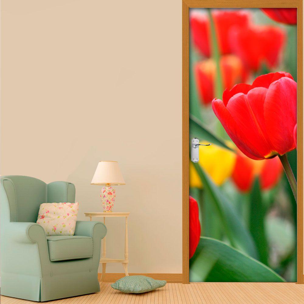 Adesivo de Porta Flor Vermelho e Amarelo