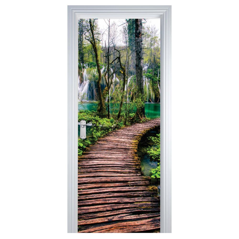 Adesivo de Porta Floresta Verde Estrada de Madeira Marrom