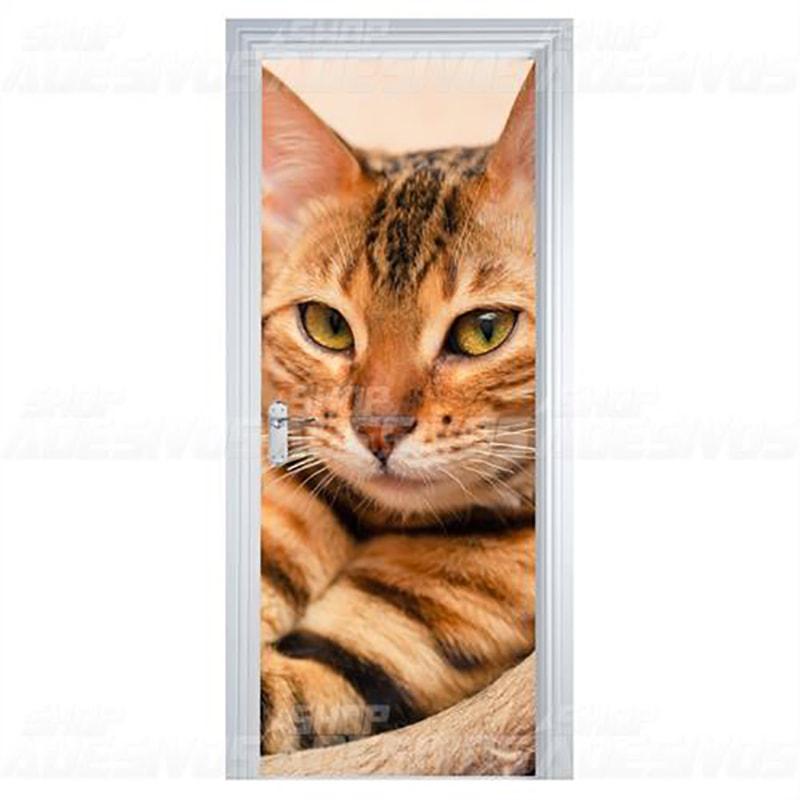 Adesivo de Porta Gato Caramelo Charmoso
