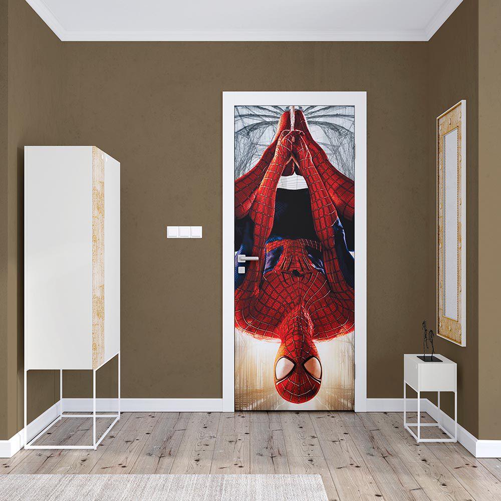 Adesivo de Porta Homem Aranha Ponta Cabeça Vermelho
