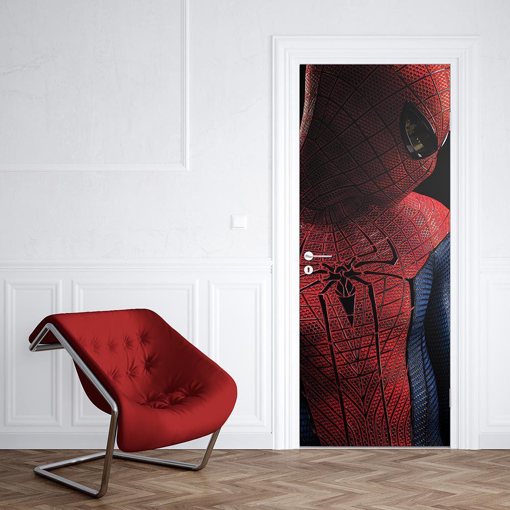 Adesivo de Porta Homem Aranha Vermelho de Lado