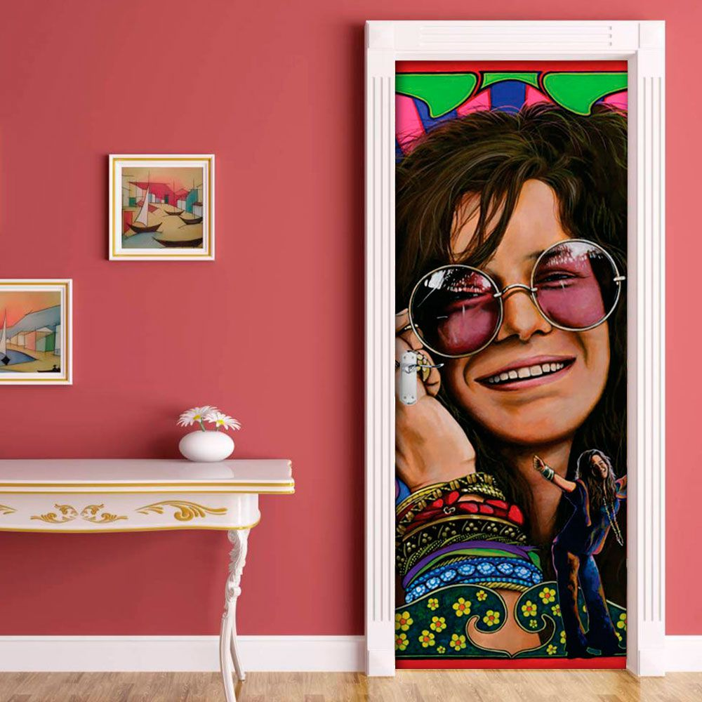 Adesivo de Porta Cantora Janis Joplin Rock