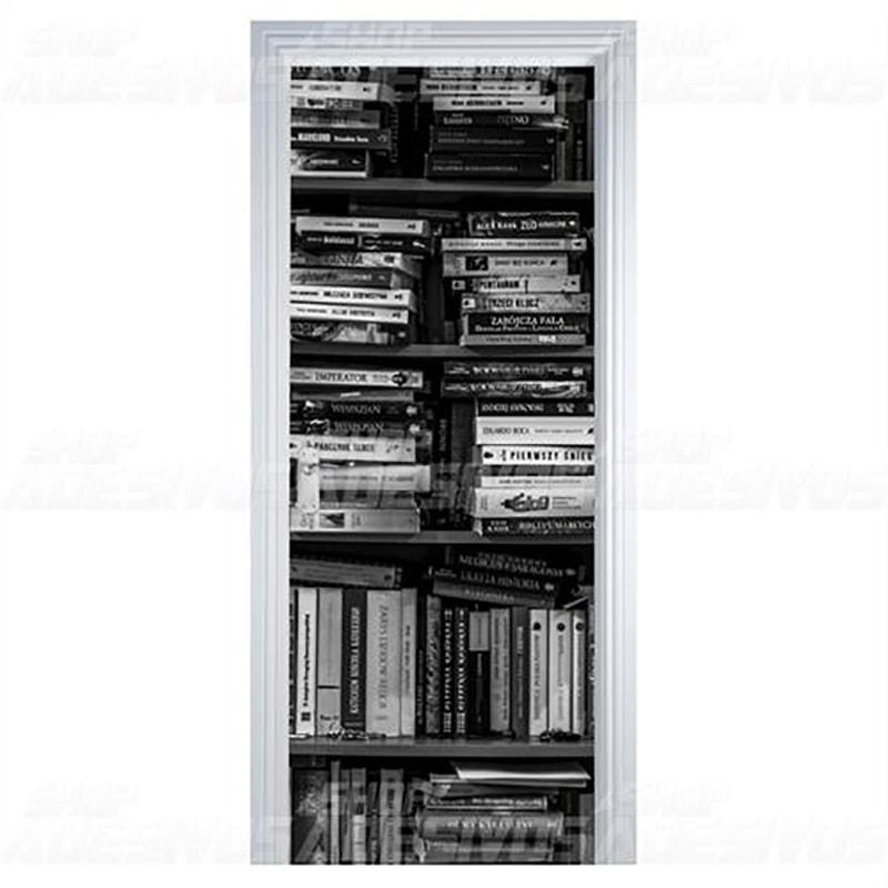 Adesivo de Porta Livro Preto e Branco