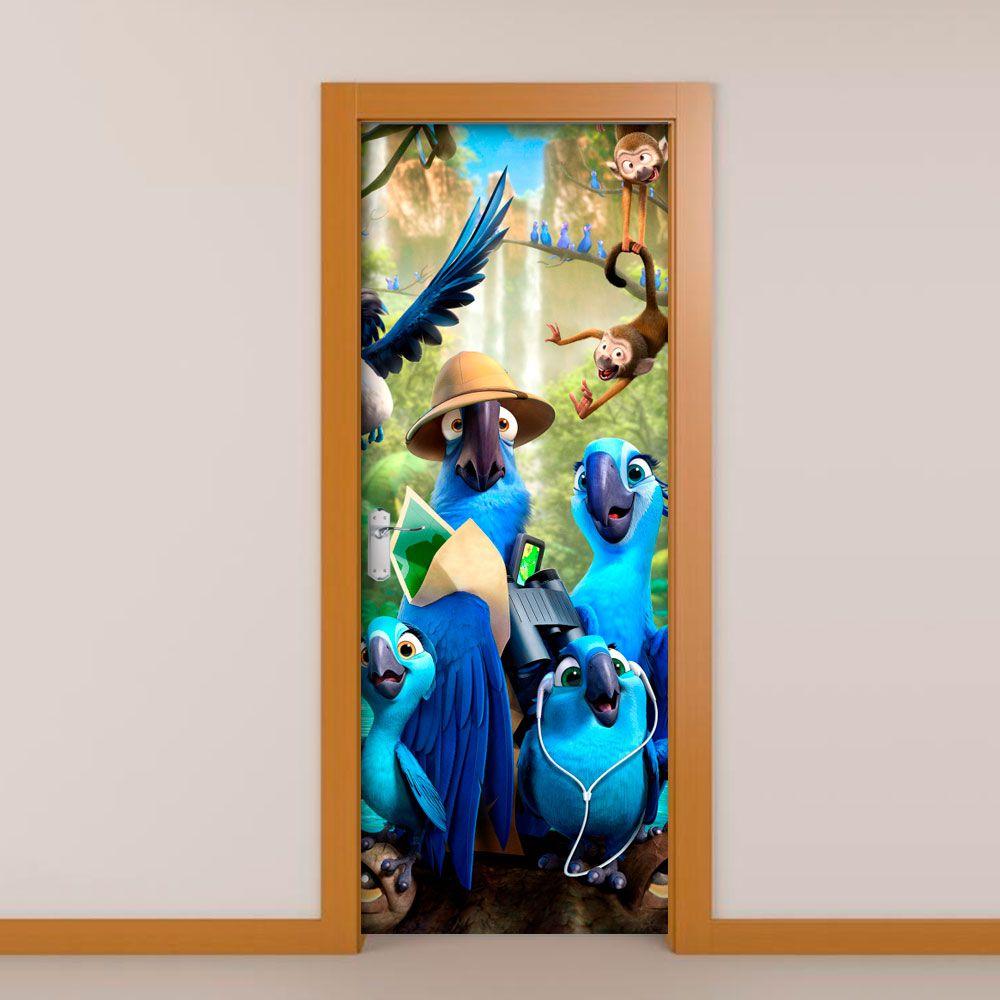 Adesivo de Porta Filme Rio Papagaio Azul