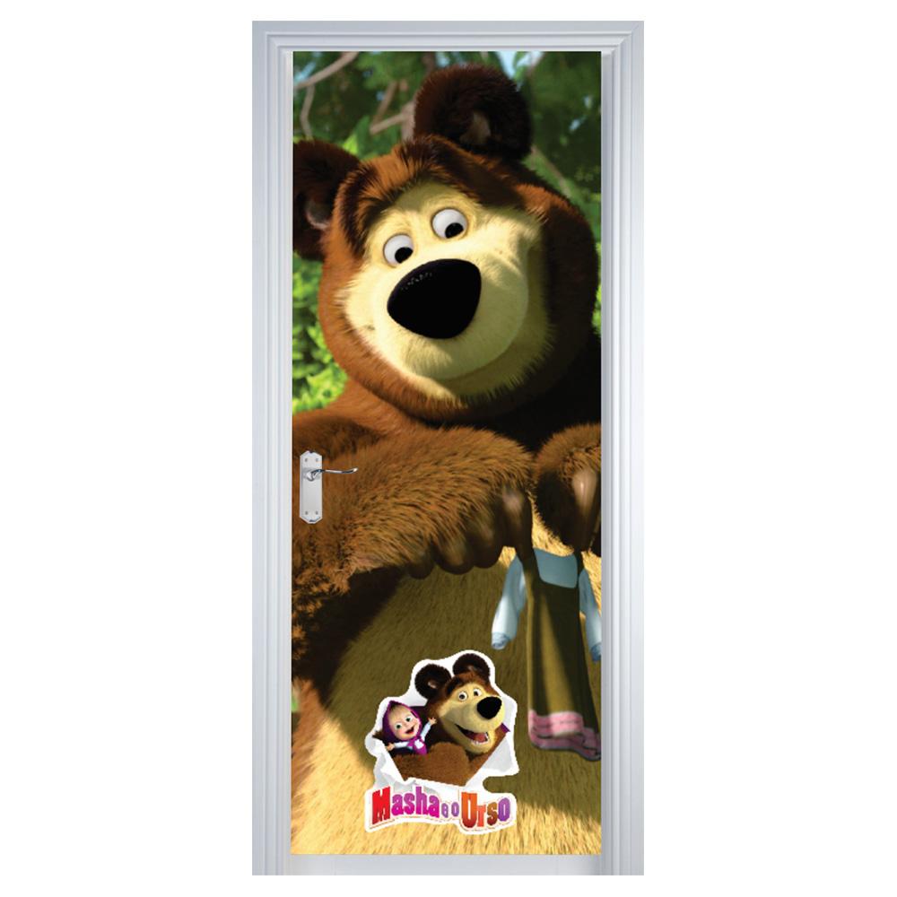 Adesivo de Porta Masha e o Urso Marrom