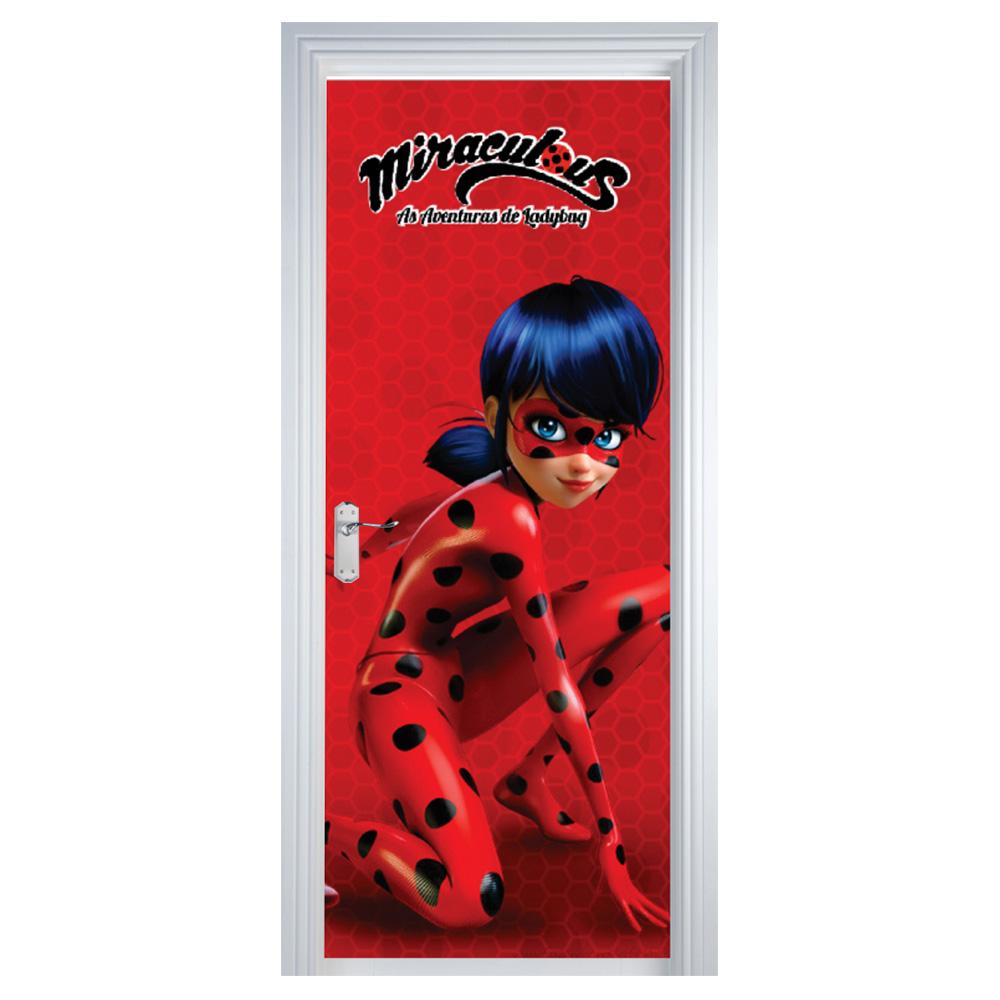 Adesivo de Porta Miraculous Ladybug Vermelho com Bolinhas Preta