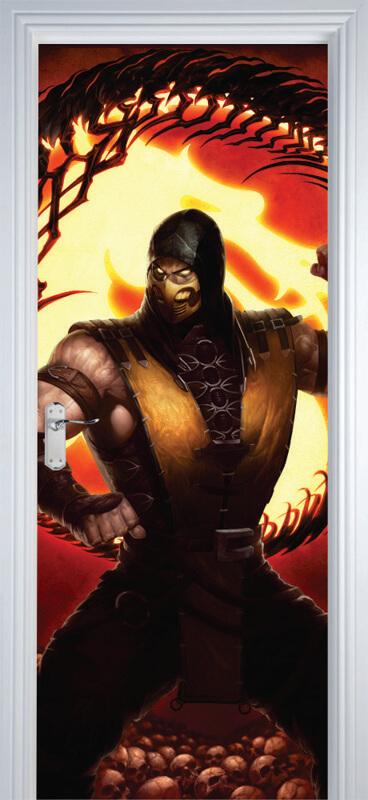 Adesivo de Porta Mortal Kombat Scorpion