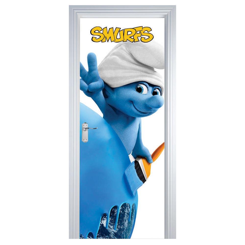 Adesivo de Porta Smurfs Azul