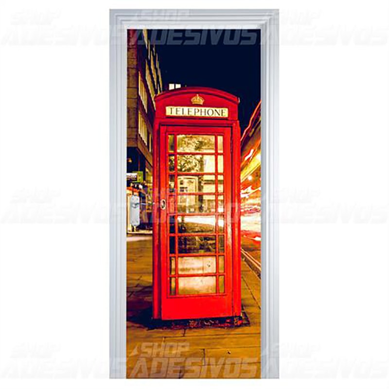 Adesivo de Porta Cabine de Telefone Retro