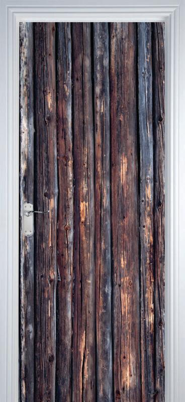 Adesivo de Porta Textura Madeira Marrom Escuro