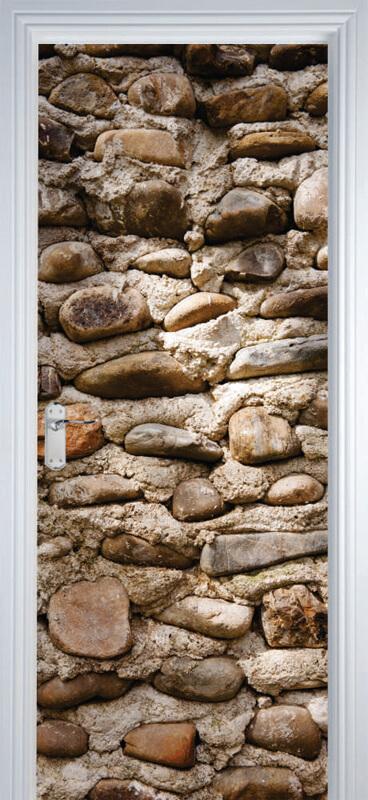 Adesivo de Porta Textura Pedra Marrom