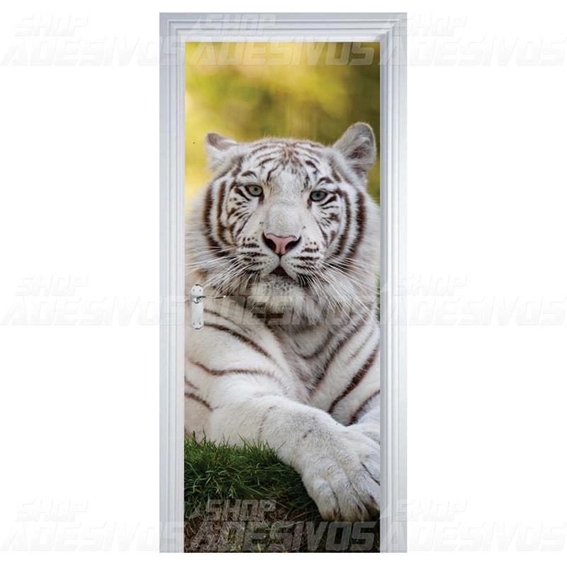Adesivo de Porta Tigre Branco