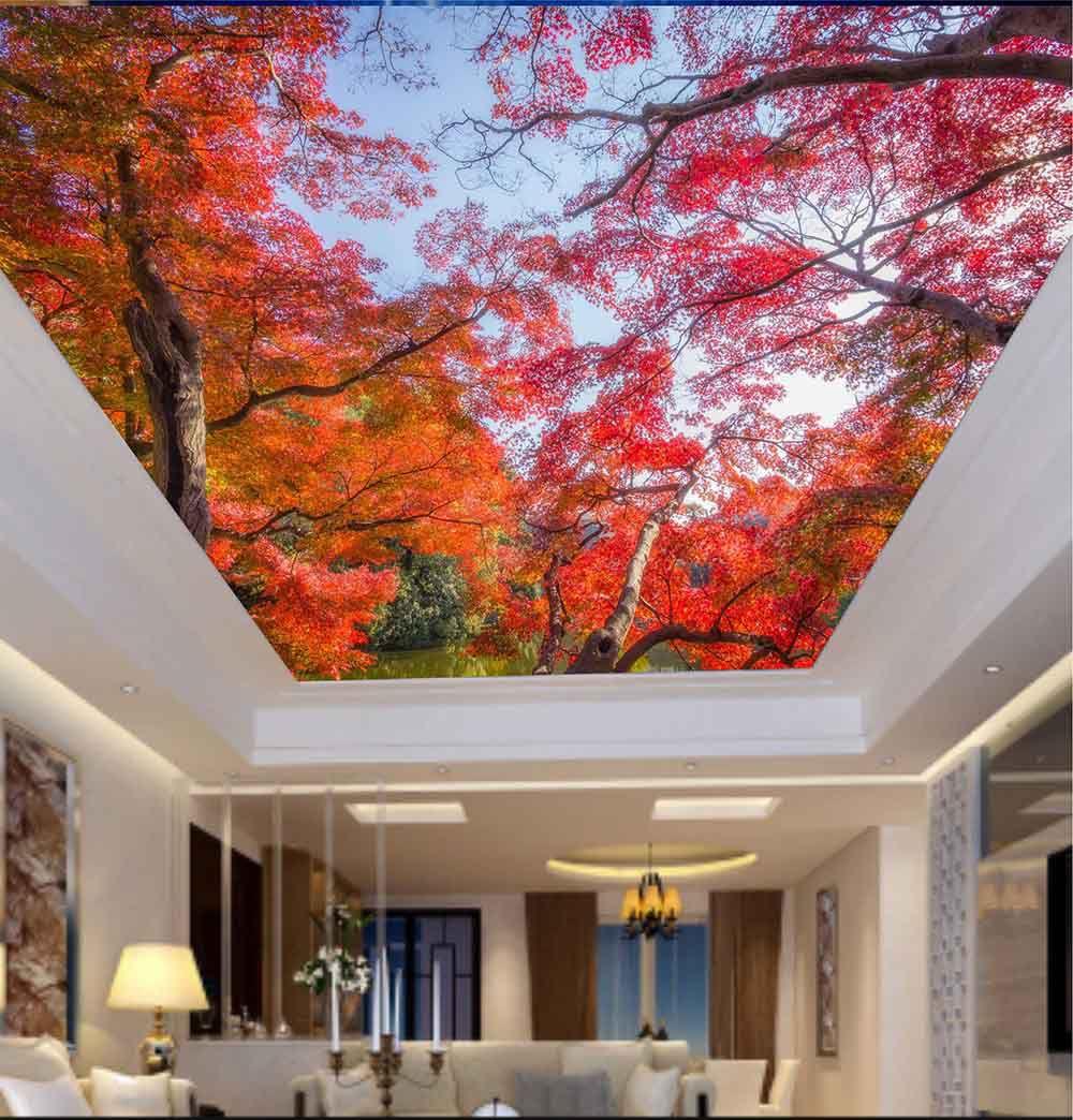 Adesivo Decorativo de Teto Árvore com Folhas Laranja
