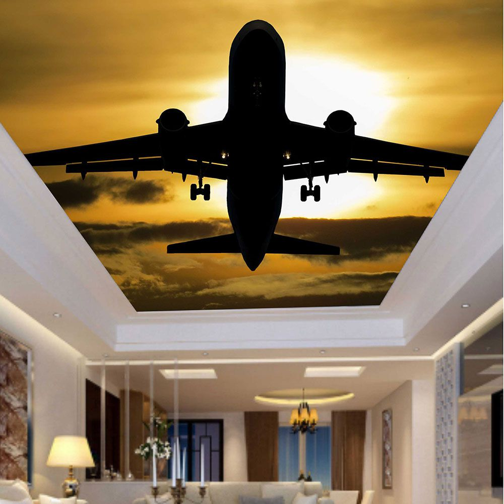 Adesivo Decorativo de Teto Pôr do Sol e Avião