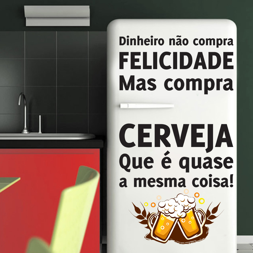 Armario Ikea Pax Bergsbo ~ Adesivo Decorativo Geladeira Dinheiro N u00e3o Compra Felicidade SHOP ADESIVOS