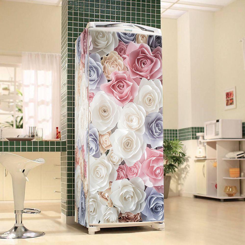 Envelopamento de Geladeira Flor Rosa Branca Azul