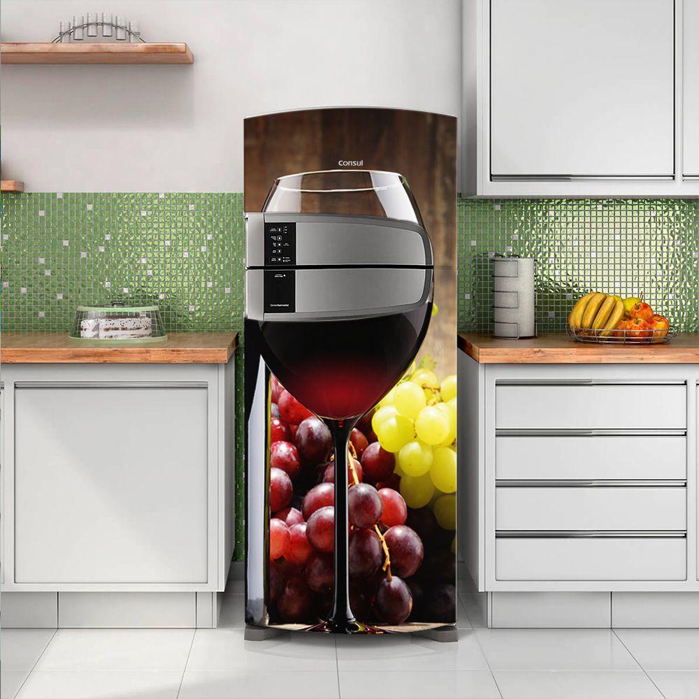Envelopamento de Geladeira Vinho na Taça e Uva