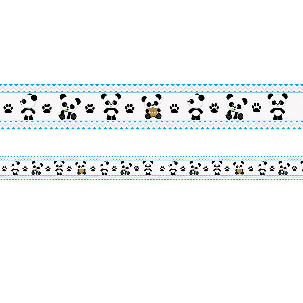 Faixa Infantil Ursinho Panda Azul e Cinza