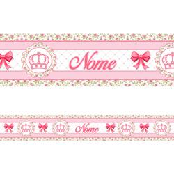 Faixa Personalizada Coroa Floral Laço Pink