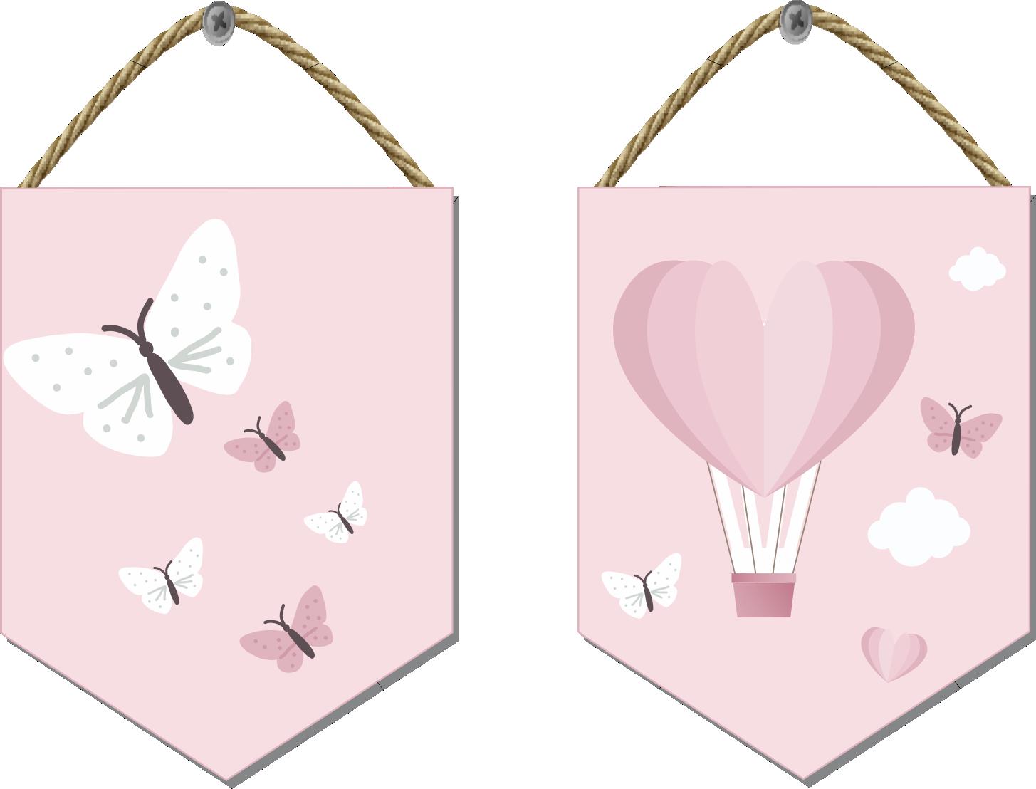 Flâmula em Mdf Impresso em Tela Kit Com 2 Uni Borboleta e Balão Rosê