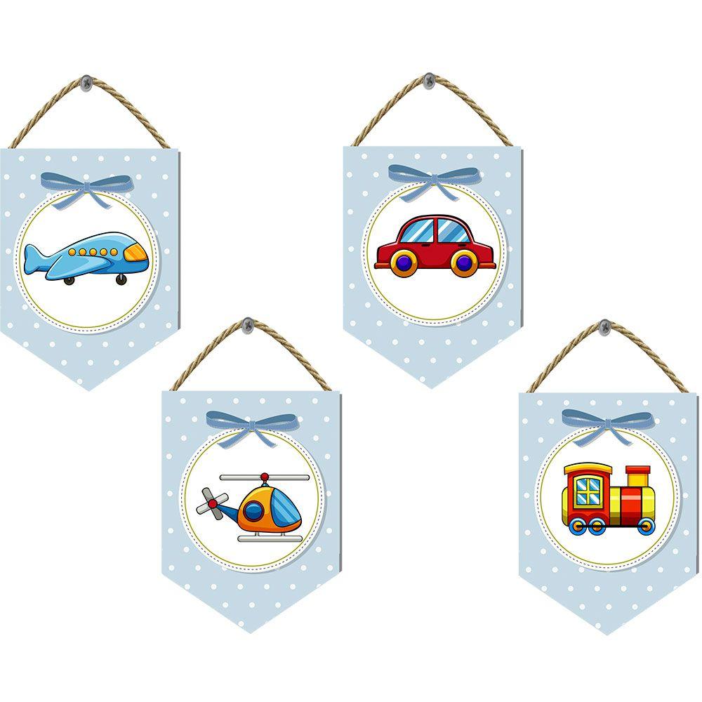 Flâmula em Mdf Impresso em Tela Kit Com 4 Uni Brinquedos Menino