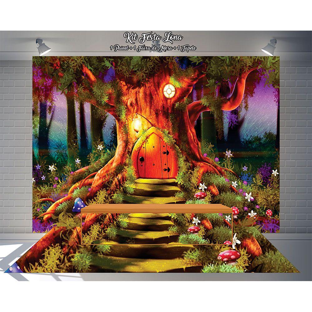 Kit Festa Painel Toalha Tapete em Lona Casa na Árvore e Pôr do Sol