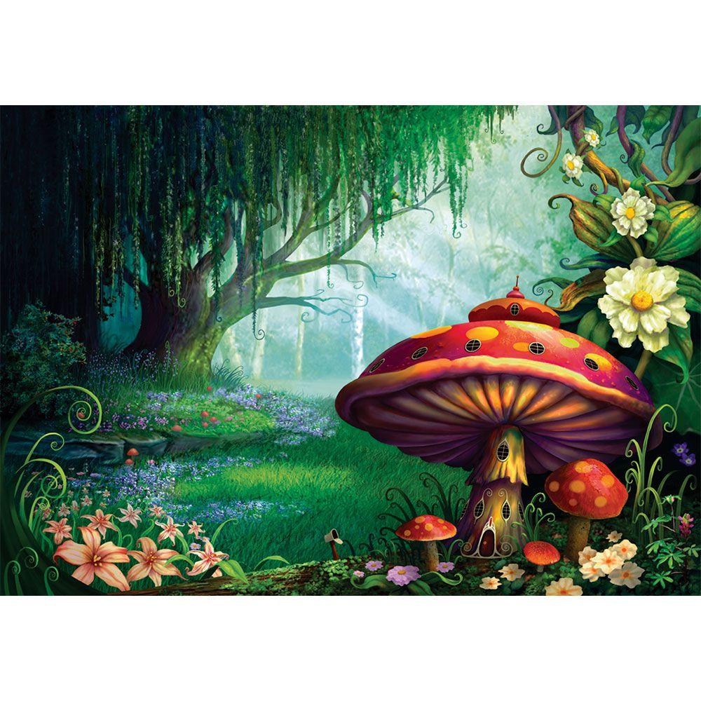 Kit Festa Painel Toalha Tapete em Lona Floresta e Cogumelos Verde